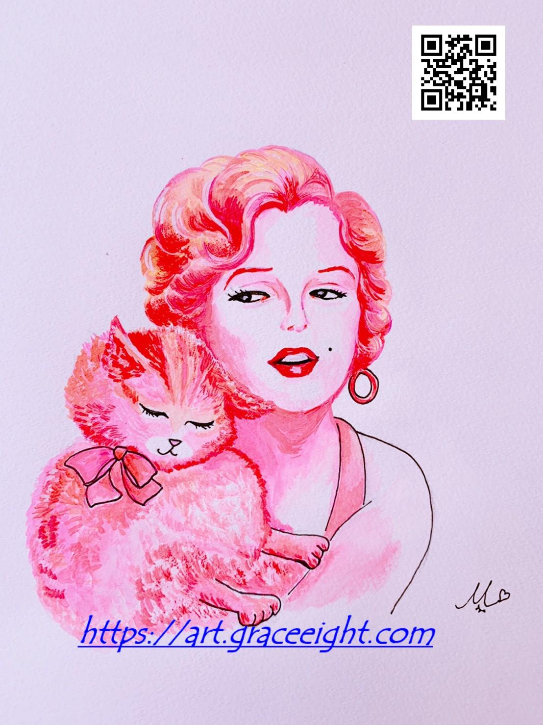 201101ピンクのマリリンとふわ猫 (ブログ用)