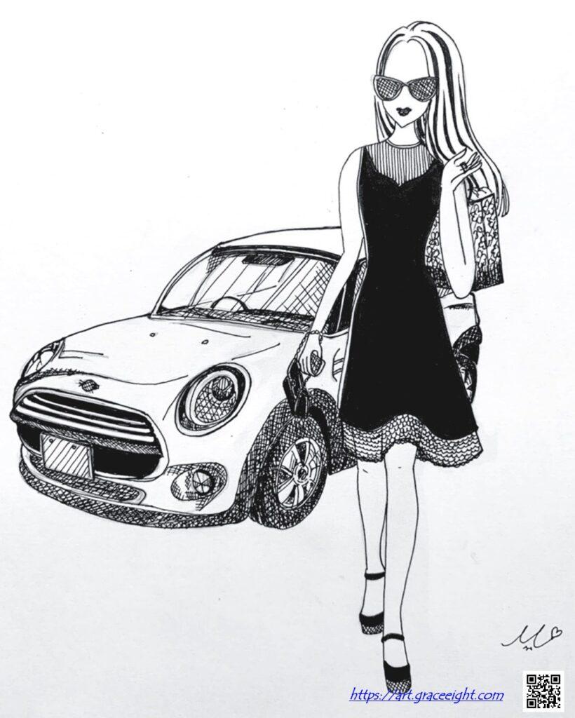 210207おしゃれな女性と可愛い車_ブログ用