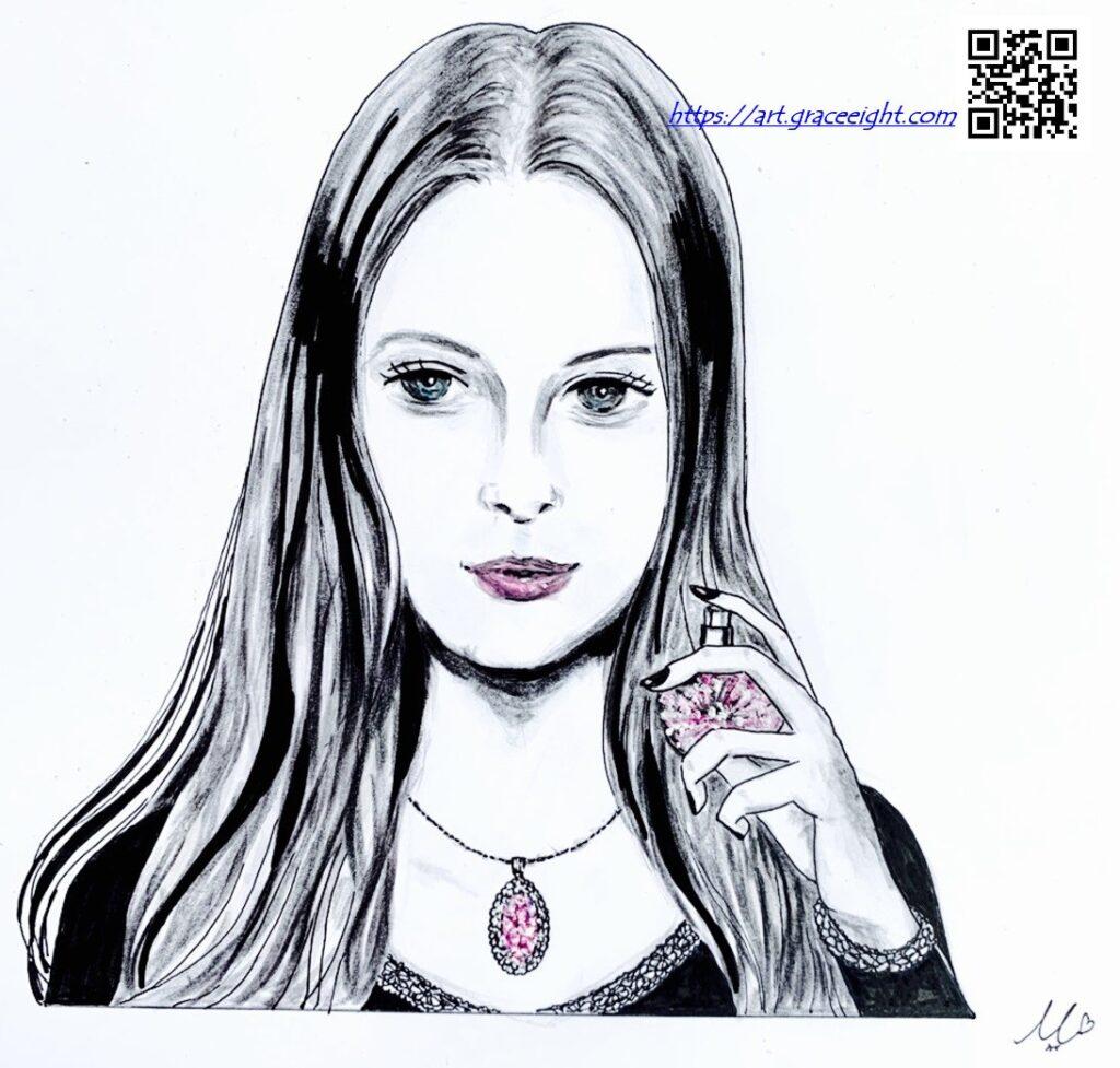 210221お洒落な女性とピンクのジュエリー(ブログ用)