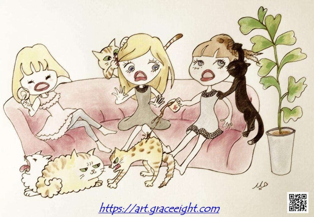 猫好き三姉妹(Miジンコ)レトロバージョン