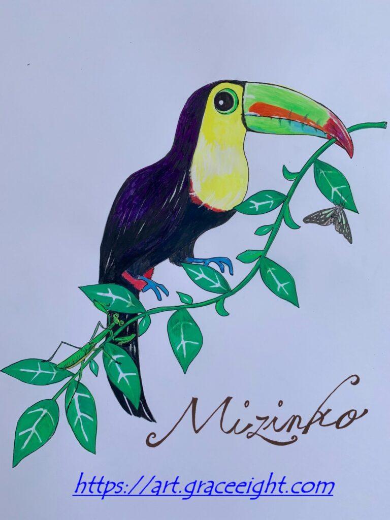 オオハシ(南米のカラフルな鳥)バージョン2Miジンコ